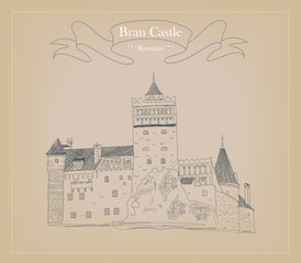 Sketch of Bran castle, also known as Dracula's castle