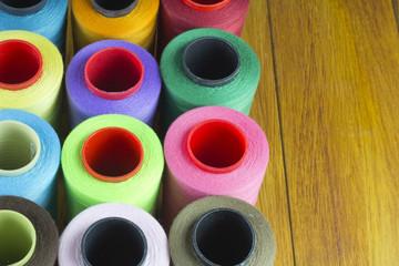 sewing thread bobbins, colorful