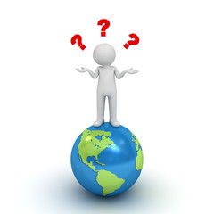 3d man standing on globe and having no idea with question marks