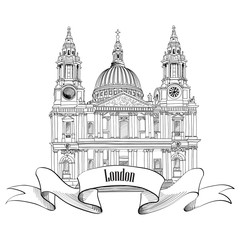 St. Paul Cathedral, London, UK. Hand Drawn Illustration isolated on white background.