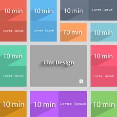 ten minutes sign icon. Set of colored buttons. Vect