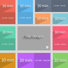 thirty minutes sign icon. Set of colored buttons. Vec