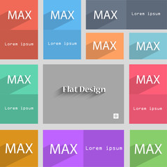 maximum sign icon. Set of colored buttons. Vector