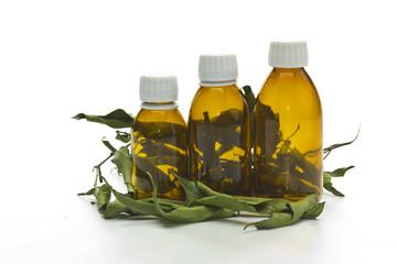 medicine bottles and bay leaves