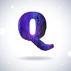 Watercolor letter Q with shadow on bokeh background