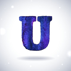 Watercolor letter U with shadow on bokeh background