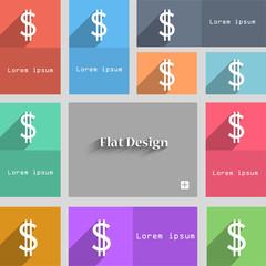 Dollars sign icon. USD currency symbol. Money la