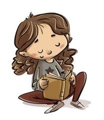 niña leyendo tranquila