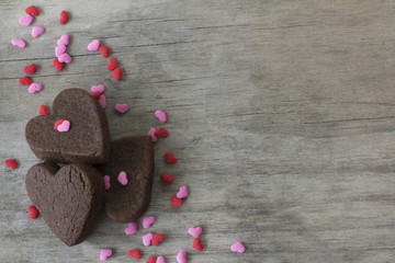Heart Cookies on Table with Sprinkles