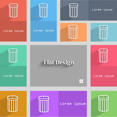 Recycle bin sign icon. Symbol. Set of colored butto