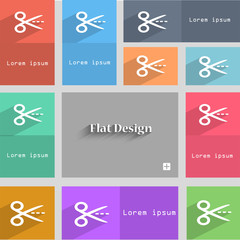 Scissors with cut dash dotted line sign icon. Tailor