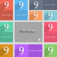 number Nine icon sign. Set of coloured buttons. Ve