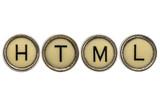 HTML (hyper text markup language) acronym in typewriter keys poster