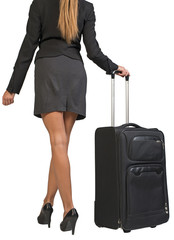 Cropped image of businesswoman with wheeled travel bag makes