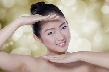 Beautiful woman after facial treatment