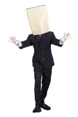 Blind manager with paper bag on head