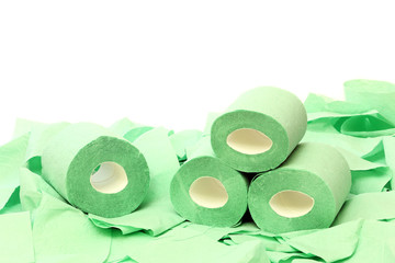 Rolls of a toilet paper on a white background