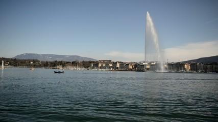 Jet d'Eau Fountain in Lake Geneva, Geneva, Switzerland