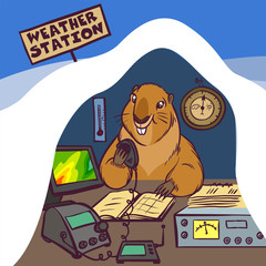 Happy Groundhog Day. Vector Illustration