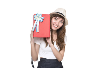 Beautiful Asian woman with a gift boxes