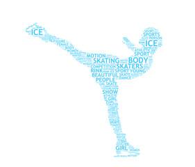 pattinatrice sul ghiaccio tagcloud vettoriale