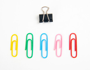 Collection of colorful office paper clips