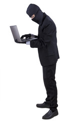 Businessperson in mask stealing information