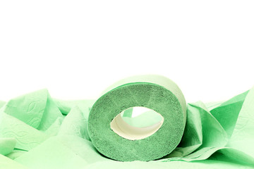 Roll of a toilet paper on a white background