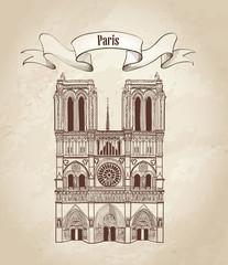 Notre Dame de Paris Cathedral, old paper background, France