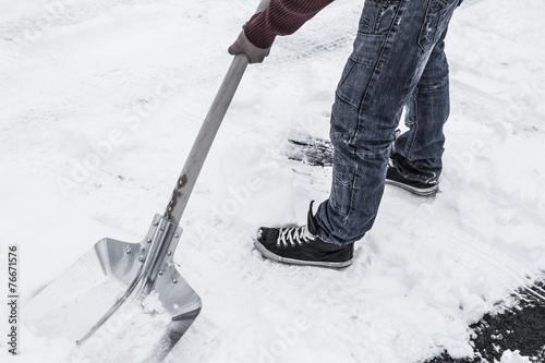 canvas print picture Schnee schaufeln