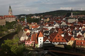 Krummau Castle over tiled roofs in Cesky Krumlov, Czech Republic