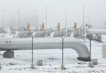 Delivery station at the natural gas pipeline.