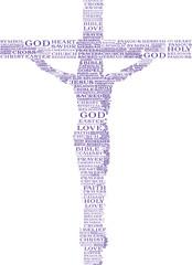 tagcloud con silhouette di Gesù Cristo in croce