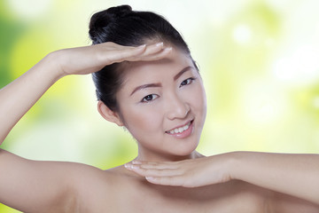 Cute asian woman with healthy skin