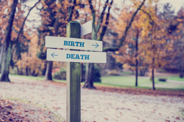 Opposite directions towards Birth and Death