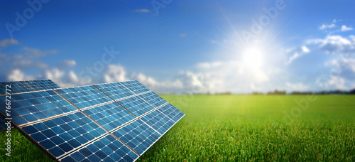 landscape with solar panel poster