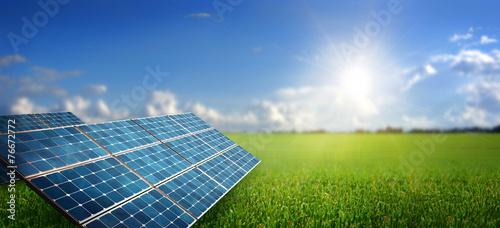 Leinwanddruck Bild landscape with solar panel
