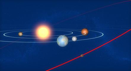 Terra luna e asteroide, spazio 2004 BL86
