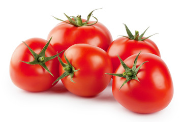 Five ripe red tomatoes