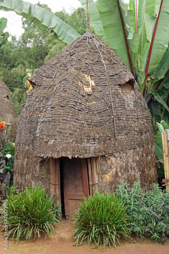 Leinwanddruck Bild House of Dorze people, Ethiopia, Africa
