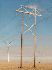 Wind turbines and power lines on a farm under blue skies