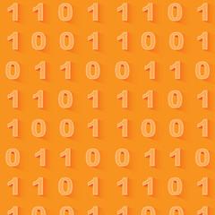 Orange binary code background. Seamless pattern.