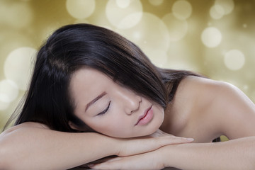 Girl resting after spa treatment