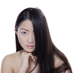 Girl with natural skin and hair in studio