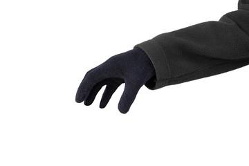 Hand in black gloves
