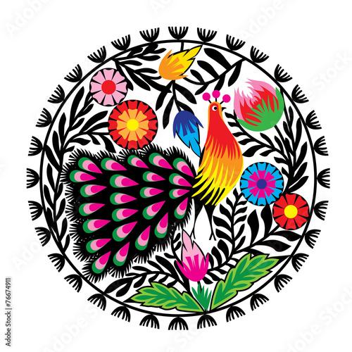 wzor-ludowy-z-kwiatami-i-pawiem-lowicki