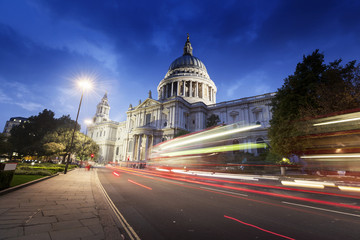 St Paul's Cathedral and moving Double Decker bus, London, UK