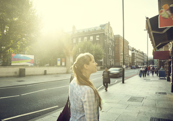 young woman on street of London