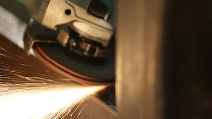 Metal polishing closeup