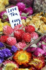 Love Tea with flowers on a bazaar
